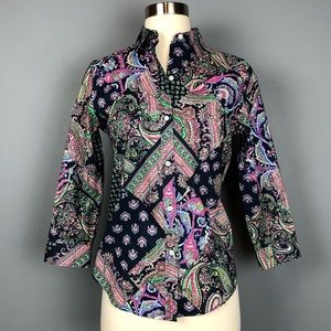 LRL Paisley Print Multi Colored Button Down Top M